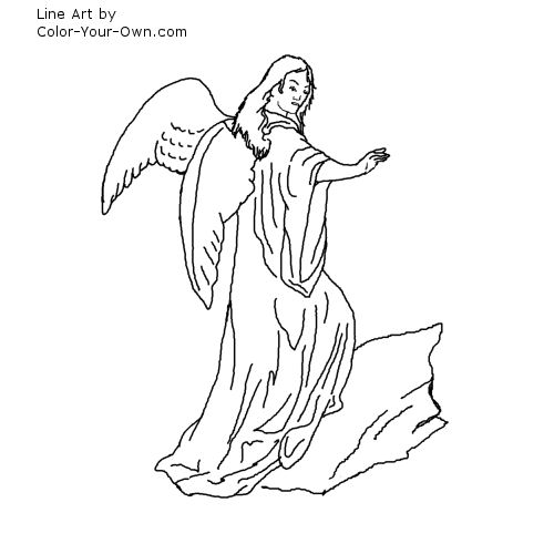 Male Guardian Angel Coloring Page - Coloring Home | 500x500